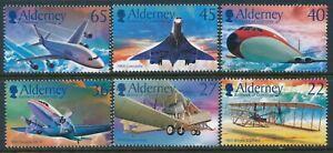 2003 ALDERNEY CENTENARY OF POWERED FLIGHT SET OF 6 FINE MINT MNH