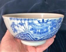 Very Old ANTIQUE CHINESE PORCELAIN BLUE & WHITE BOWL  Marked