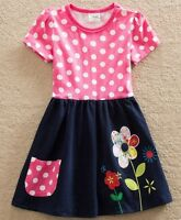 Girls Pink Polka Dot Summer Dress Age 3 4 5 6 7 Kids Spotty Floral Party Clothes