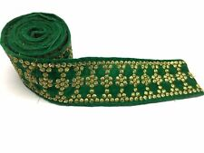 Embroidered Sari Border Sewing Craft Green Fabric Trim By 1 Yard 4.5 cm Wide