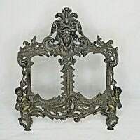 "Vintage Victorian Dual Picture Frame Cherubs Solid Brass 13"" Antique"