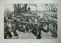 Antique Old Print 1888 Training Ship Mercury Ryde Bluejackets Sailors Art 19th