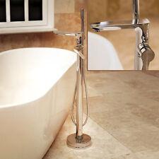 Modern Sleek Floor Mounted Free-Standing Bath Tap Shower Hose Head Mixer Filler