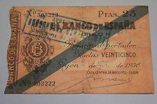 1936 GIJON 25 PESETAS BANCO DE ESPAÑA BANKNOTE SPAIN CIVIL WAR