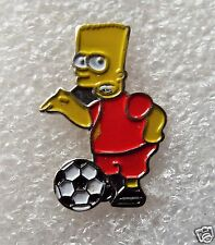Bart Simpson with football metal enamel pin lapel badge The Simpson Family