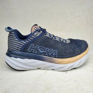 Hoka One One Bondi 6 Indigo Blue Athletic Running Shoes Women Sz 8 Wide Damaged