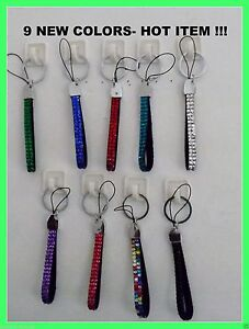 Crystal Rhinestone Small Lanyard Key Chain Cell Phone strap (9) COLORS