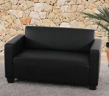 2er Sofa Lyon, Loungesofa Couch, Kunstleder schwarz