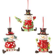 RAZ Holiday on Ice 4.5 inch Snowman Claydough Ornaments set of 3 hi 3316516 NEW
