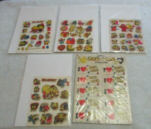 PAC-MAN PUFFY STICKER LOT 5 SHEETS OF STICKERS! 1980'S I HEART PACMAN! VINTAGE