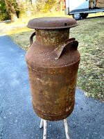 Vintage 10 Gallon Steel Milk Can  - Signed Hood - Rusty - As Found