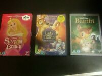 3x Classic Disney DVD's Bambi Lady and the Tramp and Sleeping Beauty Bundle Gift