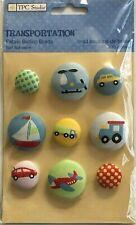 3881 Tpc Studio - Fabric Button Brads, Cars, Planes, Boat, Truck - PkgSz 6x4
