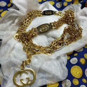 AUTH OLD GUCCI CHAIN BELT VINTAGE GOLD GG LOGO F/S