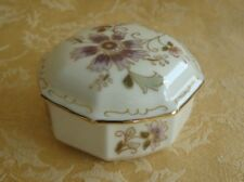 Vintage Zsolnay-Hungary Hand Painted Lidded Trinket Box w/Floral & Gold Gilt