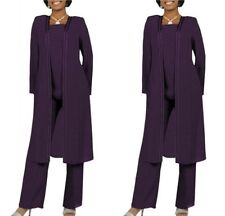 3PCS Mother Of The Bride Dress Suit Chiffon Long Jacket+Pant Purple Size 24/26W