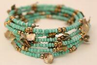 Vintage Goldtone Light Blue Beaded Wire Wrap Bracelet S#