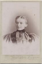 CABINET CARD, WOMAN IN A LARGE SHOULDERED, HIGH NECKED DRESS. PITTSBURGH. PA.