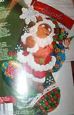 "Bucilla Plaid 86208 Santa Bear Christmas Felt Stocking 18"" Maria Stanziani"