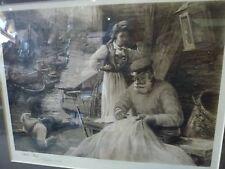 Original Print Arthur Netherwood signed Welsh art A Sail Makers Loft Norway