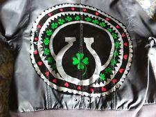 NEW LOOK GREY VEGAN LEATHER IRISH HAND PAINTED BOMBER HOODY JACKET UK 14 LUCKY
