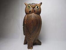 Wood Grain Standing Owl Figurine Dominant Proud Predator Bar Desk Display Statue