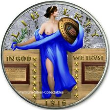 2020 USA 1916 Standing Liberty Blue Dress - Pure .999 Silver Colorized Series!