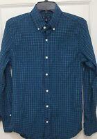 Men's Gap Teal Plaid Slim Fit Long Sleeve Shirt - XS