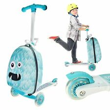 Kids Monster Scooter Luggage Trolley Folding Scuitcase Bag 3 Wheels Suitcase