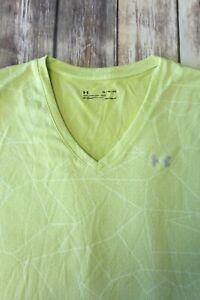 Under Armour Loose HeatGear Womens XL v-neck top pullover citron green geometric