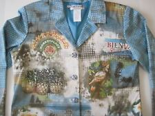 Nancy Bolen Embellished Womens Jacket Petite Large Tropical Pineapple Cockatoo