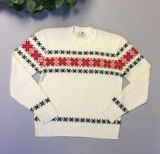 Glengarry Orlon Womens Sweater White Holiday Snowflake Lightweight Large Winter