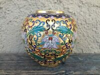 VINTAGE CHINESE CLOISONNE CHAMPLEVE SMALL ROUND VASE, CHRYSANTHEMUM FLOWERS