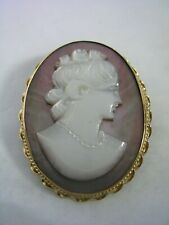 VINTAGE CAMEO LADY PIN, BROOCH AND PENDANT HAND CARVED SHELL IN 14KT GOLD FRAME