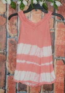 Justice Girl's Size 14 16 14/16 Peach Lace Sleeveless Top Tie Dye