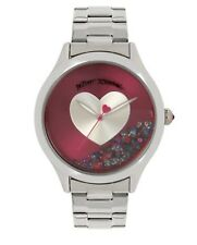BETSEY JOHNSON Analog Floating Stones and Heart Stainless Steel Bracelet Watch