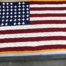 """Vintage Handmade American Flag Afghan Stripe Throw Blanket Afgan Crochet 53""""x39"""""""