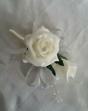 Ivory & Silver Wedding Pin On Corsage Artificial Roses Pearl Ball Spray Satin