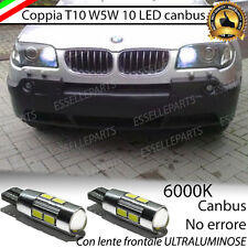 COPPIA LUCI DI POSIZIONE 10 LED BMW X3 E83 CANBUS 6000K BIANCO 100%  NO ERROR