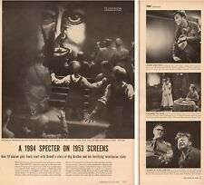 1953 vintage TV Show article , Orwell's 1984 Lorne Green EddieAlbert 3pgs 090617