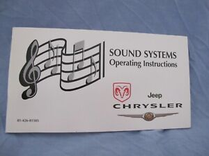 Dodge, Jeep, Chrysler Sound Systems Operating Instructions/Manual