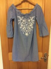 NEW Ladies Cotton Top/Dress From New Look Size M Blue/White Striped