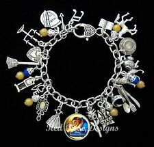 ~ BEAUTY AND THE BEAST THEMED CHARM BRACELET, BELLE, PRINCESS~