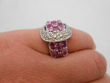 WOW Large & Wide Sonia Bitton 14K White Gold Pink Sapphire & Diamond Ring Size 6