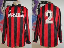 VINTAGE AC MILAN ITALY 1994 1995 HOME SHIRT JERSEY LOTTO #2 signed SIZE L