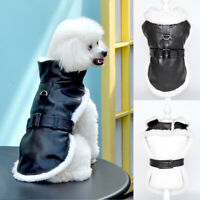 Small Dog Leather Jacket Waterproof Winter Fleece Coat Pet Cat Clothes Apparel
