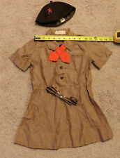 Vintage Brownie Girl Scout Uniform Beanie Ascot