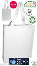 Cotton CANVAS Bags with Long Handle Tote Shopper. Colour-WHITE (Pack of 10 pcs )