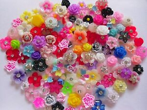 """50 pieces x 3D Acrylic Fimo Nail Art """"Flowers"""" Accessories Mix Craft Cabochons"""