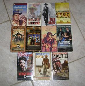 11 VHS Western Movie lot High Noon, Hondo, Silverado, Mohicans, Hombre Maverick